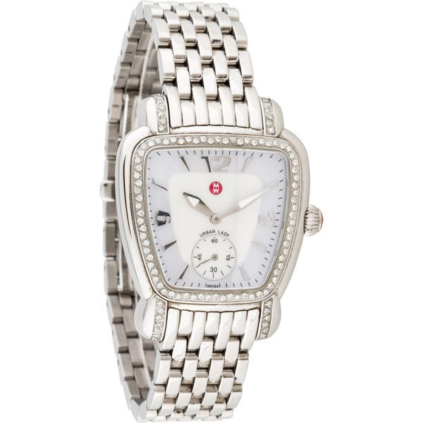Pre-owned Michele Diamond Urban Lady Watch ($695) ❤ liked on Polyvore featuring jewelry, watches, white jewelry, urban watches, water resistant watches, diamond bezel watches and white diamond watches