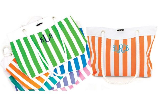 GroopDealz | Personalized Nautical Stripe Tote