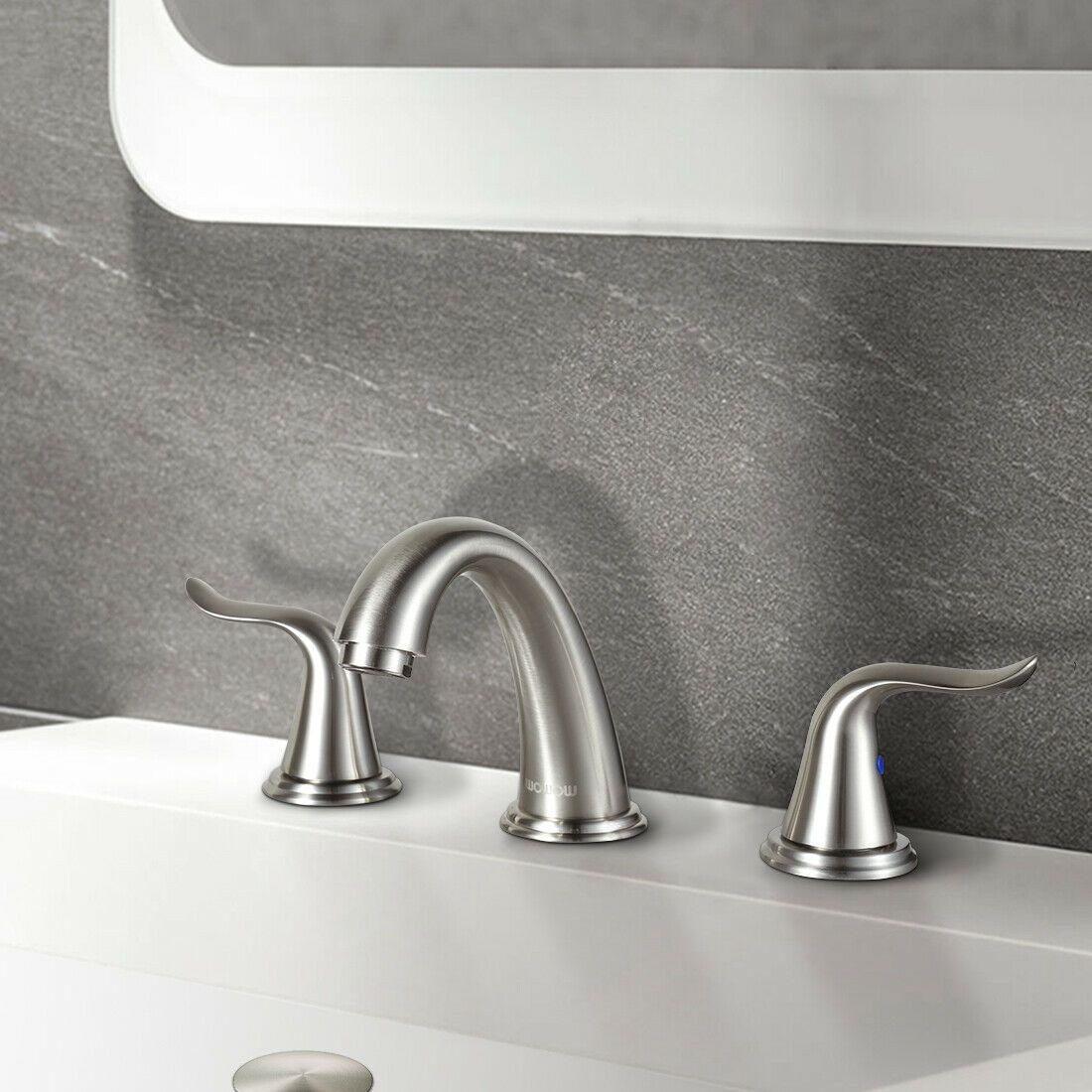 Bathroom Sink Faucet 3 Holes W Overflow Popup Drain Brushed