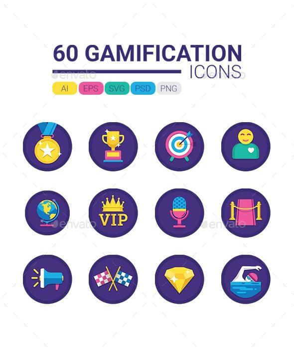 60 Gamification Icons Game icon design, Gamification