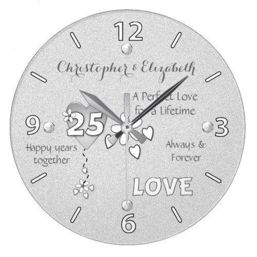 Anniversary 25 Years Hearts Flowers And Names Large Clock Zazzle Com Clock Anniversary Clock Silver Wedding Anniversary