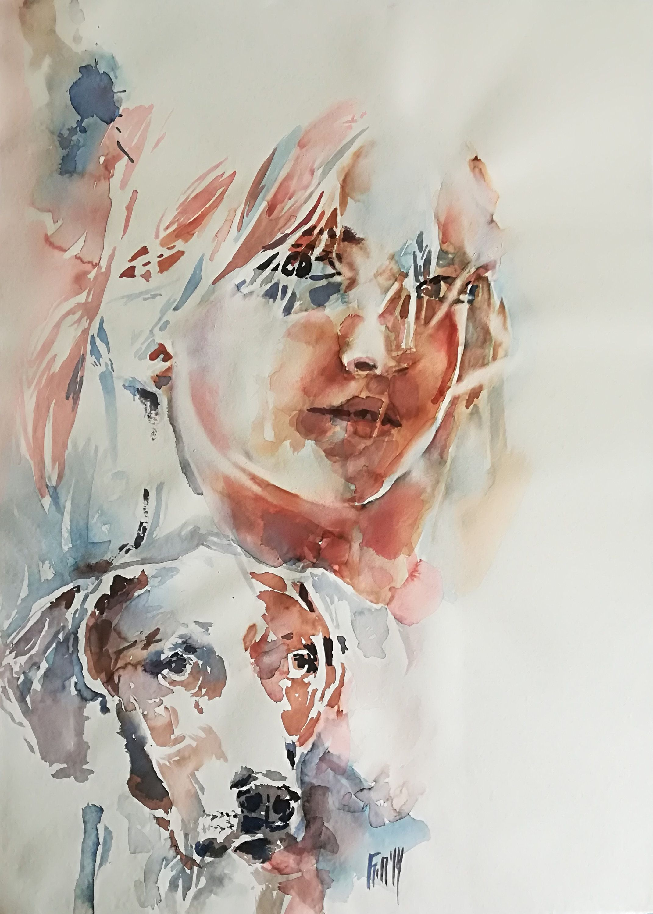 Original Large Watercolor Painting Girl And Puppy