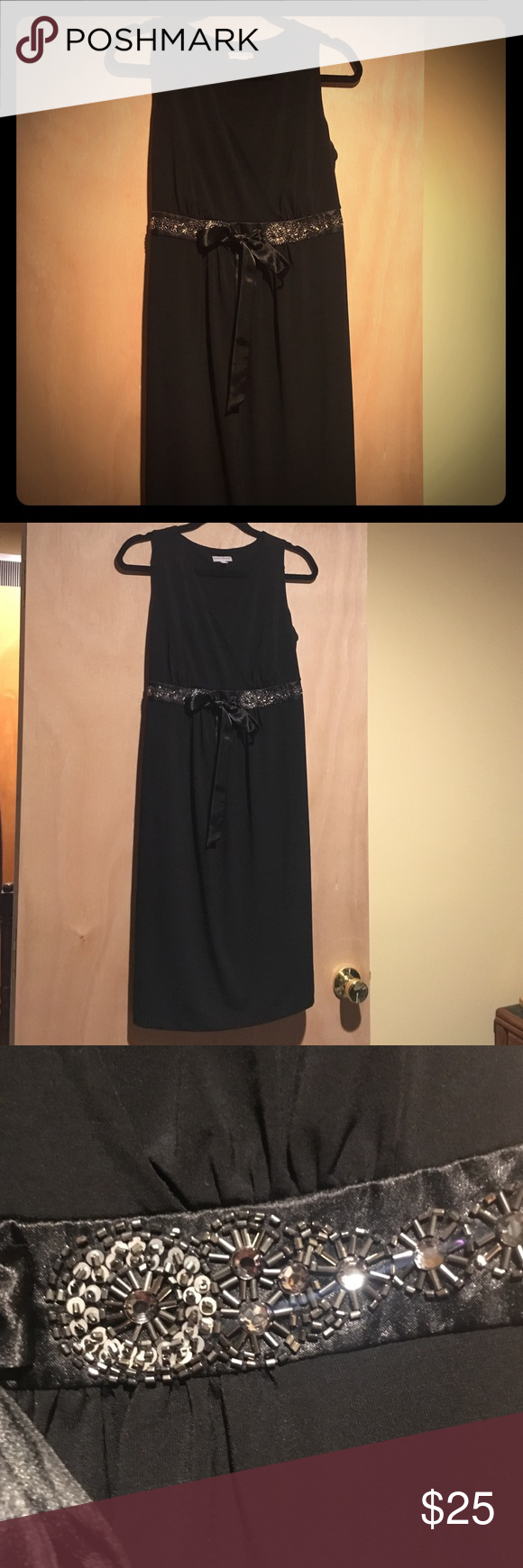 Elegant black maternity dress Elegant Pea in the Pod dress with beaded waist and satin sash.  This dress is comfortable and classy.  V-neck neckline lends hand to any beautiful necklace.  Perfect for any stage in pregnancy. A Pea in the Pod Other