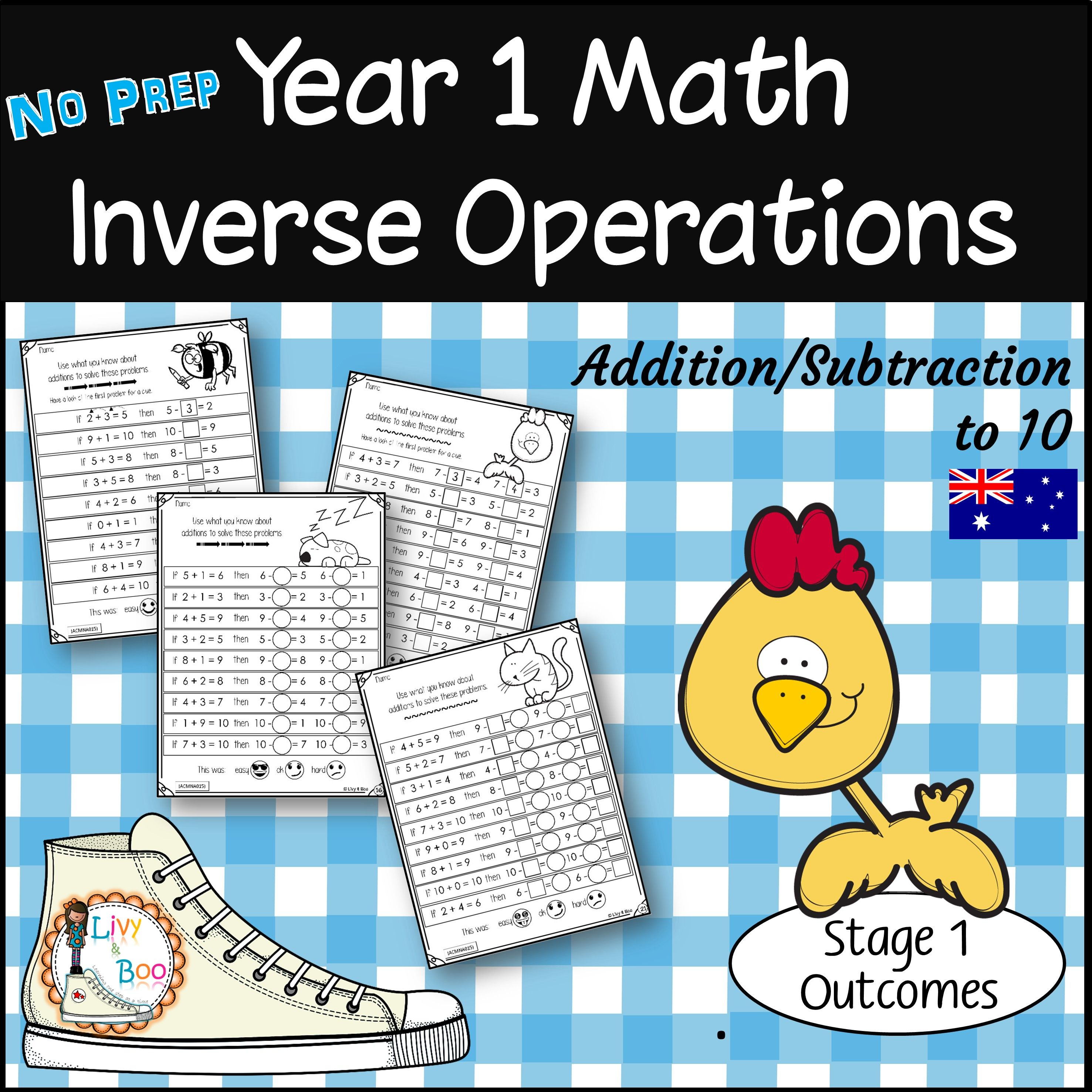 Year 1 Math - Inverse Operations to 10 - No Prep Worksheets | Livy ...