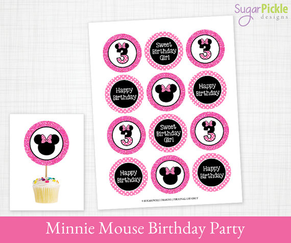 Swell Minnie Mouse Cupcake Toppers 3Rd Birthday Minnie Birthday To Funny Birthday Cards Online Necthendildamsfinfo
