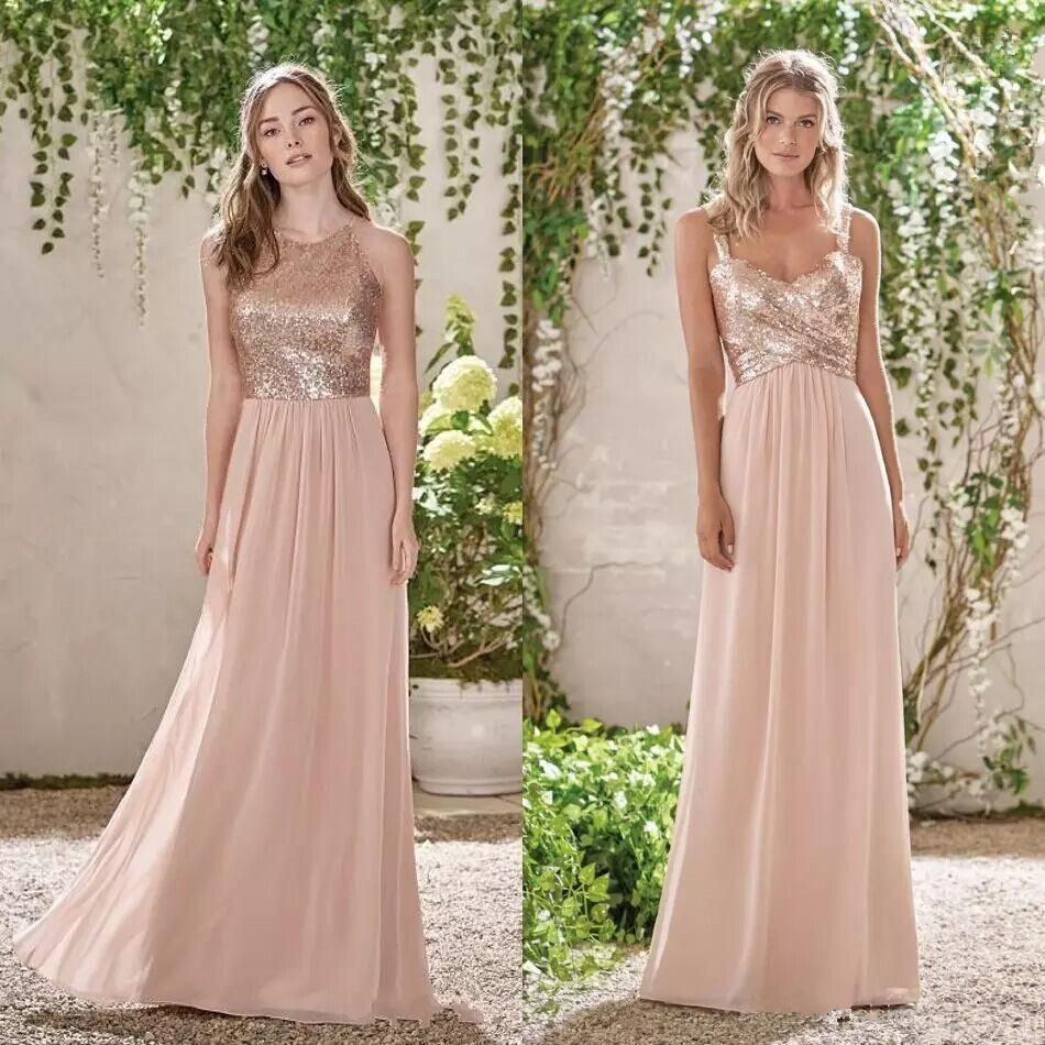 Rose Gold Sequined Top Bridesmaid Dresses Spaghetti Backless