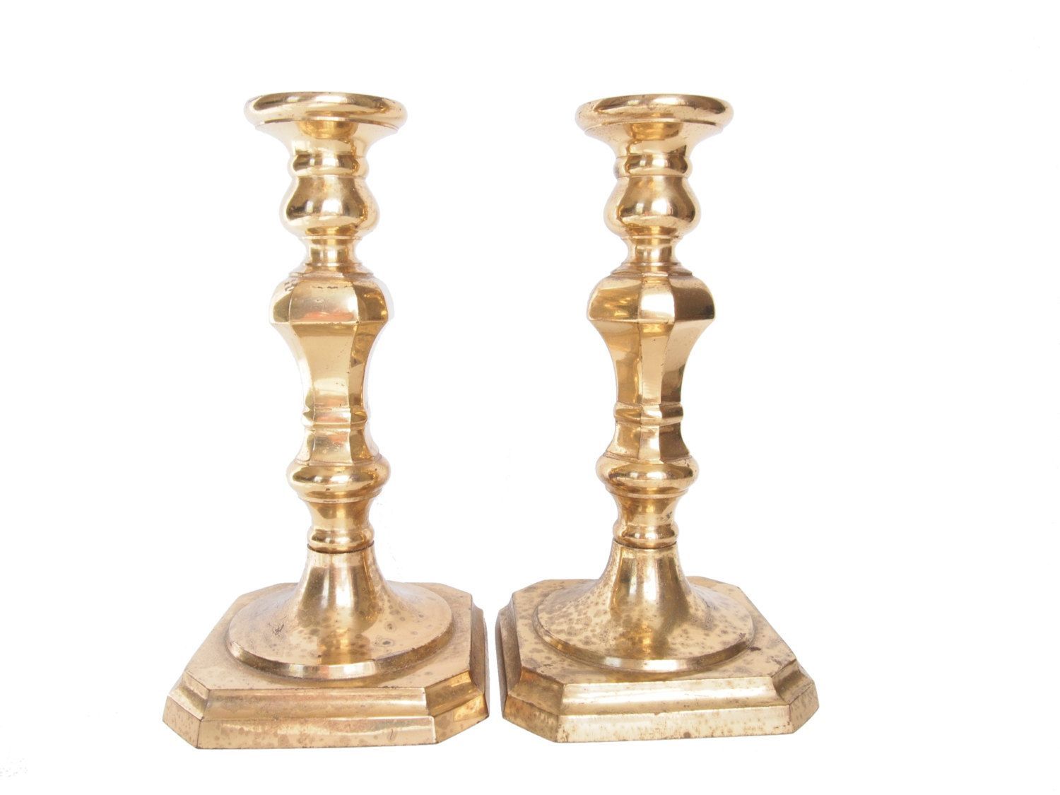 Vintage brass candlestick holders mantle candle