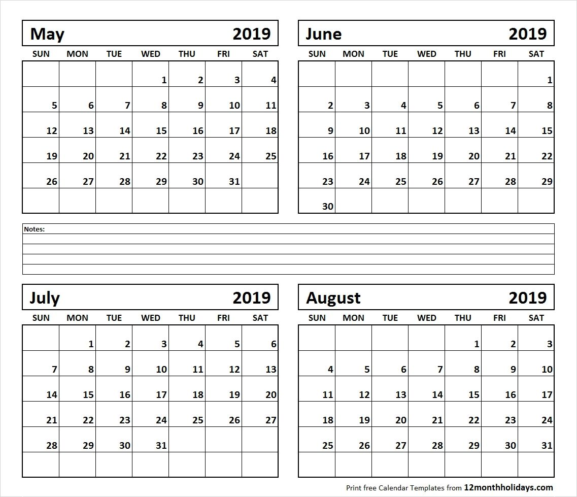 Printable Blank Four Month May June July August 2019 Calendar