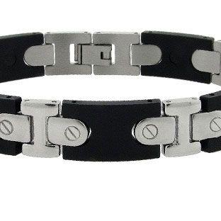 Men's Stainless Steel Black Link Rubber Bracelet - Gemologica, A Fine Online Jewelry Store