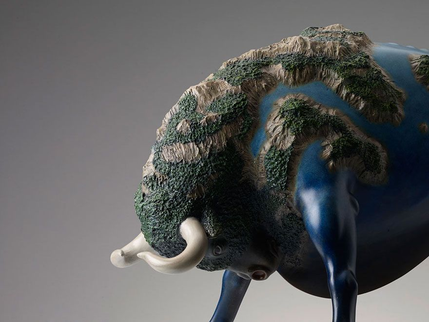 Animal sculptures 'Carrying the World on their Backs'
