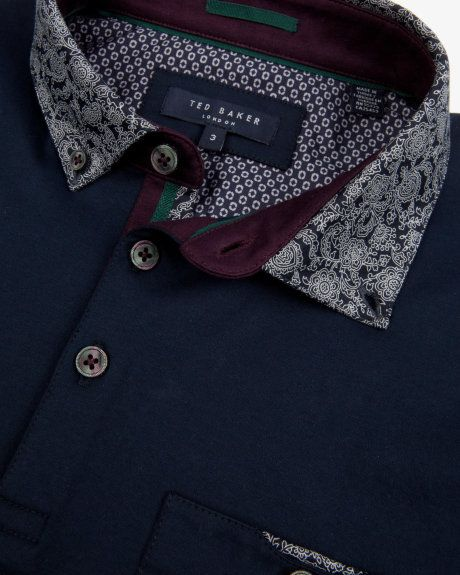 f15d89f4b829a Floral print collar polo shirt - Navy