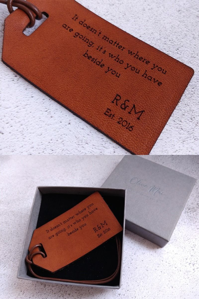 3 Year Anniversary Gift, Luggage Label Leather Gift