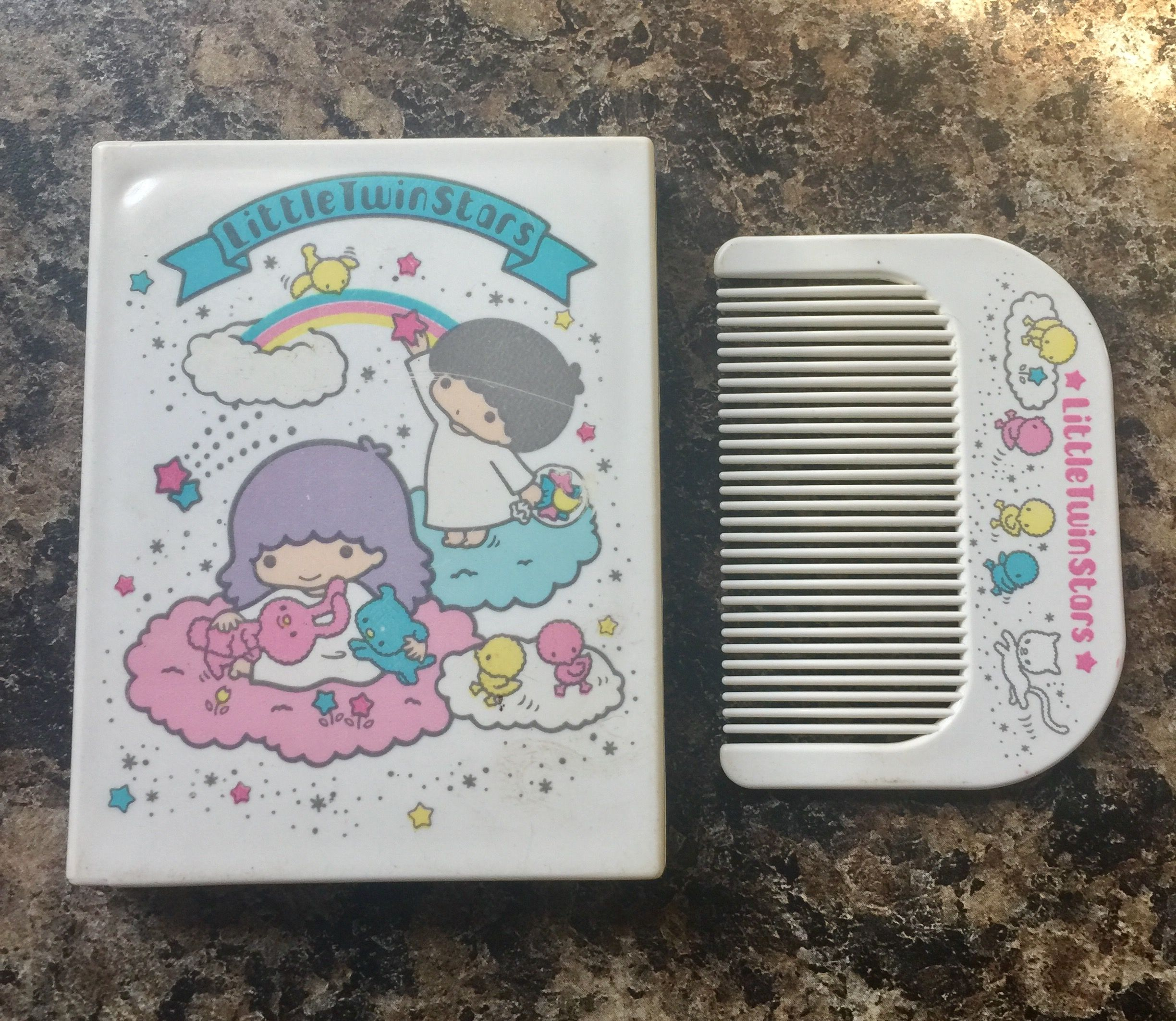 85a759e48 1976 hello kitty vintage little twin stars compact mirror and comb ...