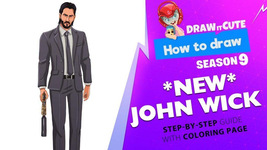 How to draw NEW John Wick | Fortnite season 9 step-by-step ...