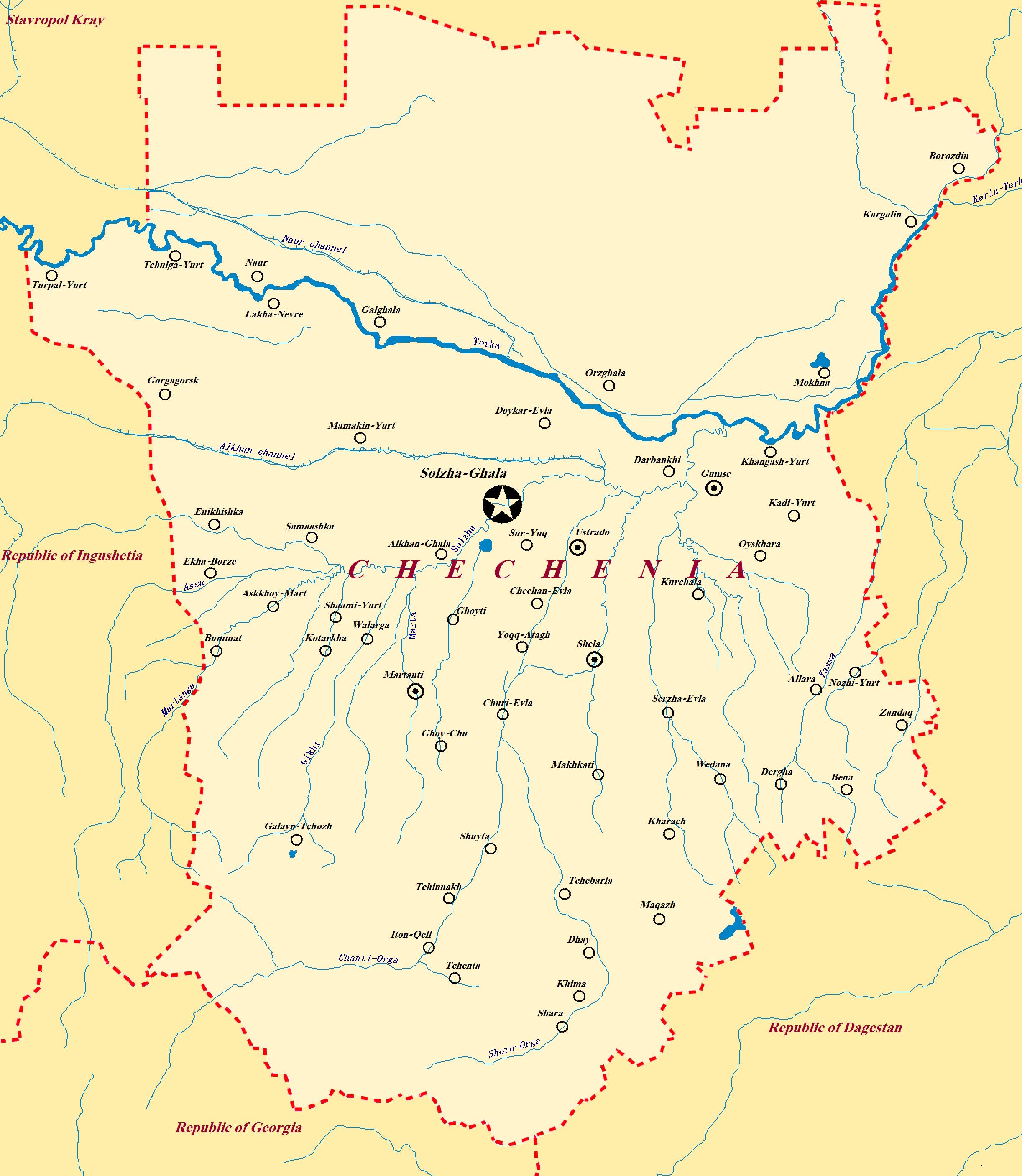 Map of Chechen Republic Chechnya Russia MAPS Pinterest Russia
