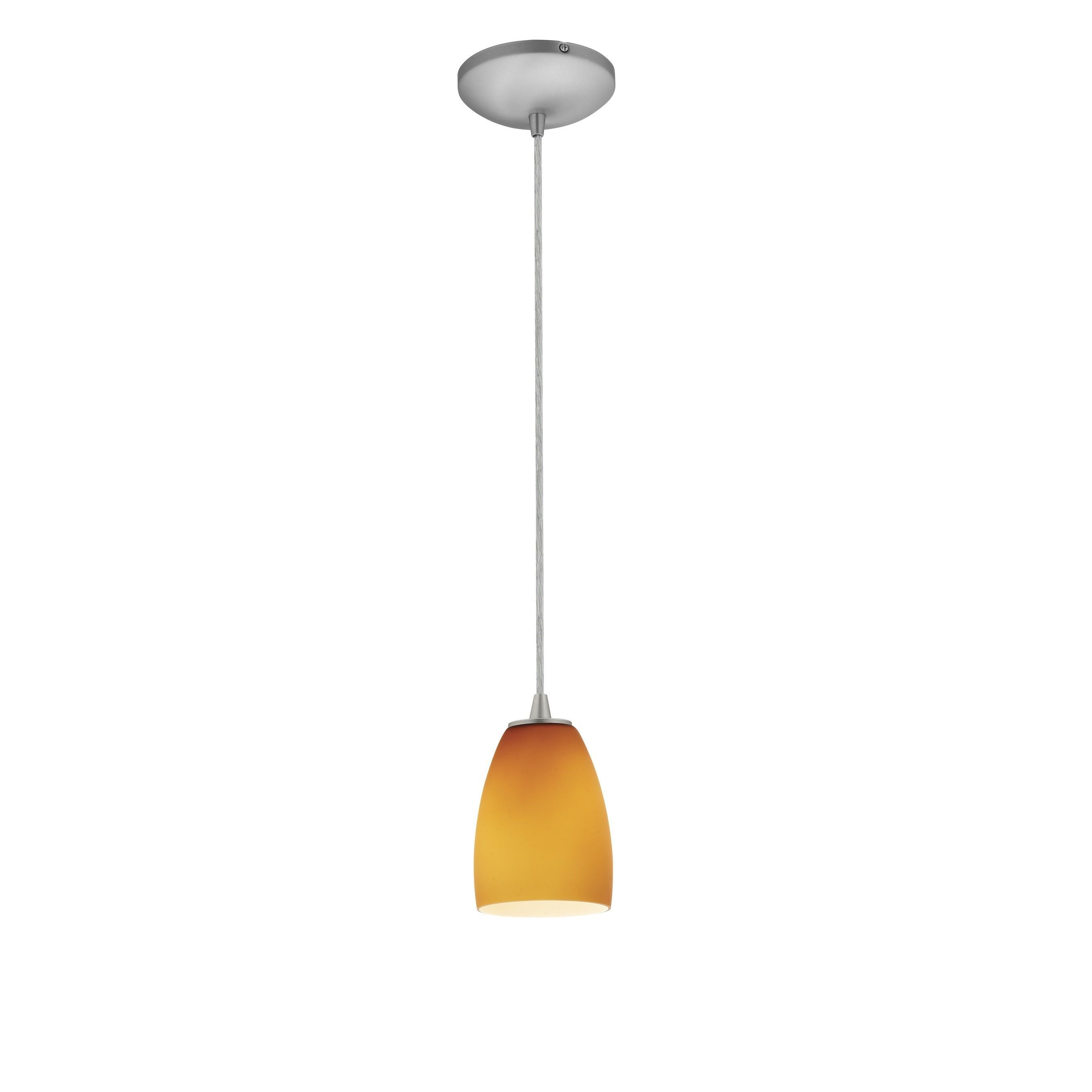 Access Lighting Sherry Steel Integrated LED Cord Pendant, Amber Shade (Brushed Steel, Amber), Brown (Glass)
