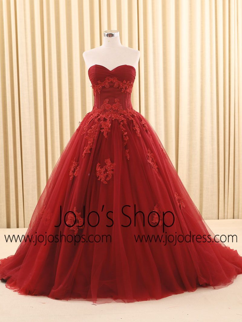 Red ball gown wedding dress  Dark Red Ball Gown Lace Wedding Dress  Products  Pinterest  Lace