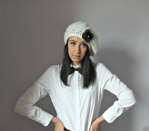 Hand Crochet Beret - White, Ivory, Cream, Brown - Women  ☆ Ready to ship. This is an luxurious winter beret. You can wear this with a wool coat, a leather jacket, or alone with a sweater for added funk. This beret fits beautifully and looks incredible from every angle. It is s created using a luxurious, soft and warm Kid Mohair This is a piece that you can work into your wardrobe while being warm! It's versatile and durable, a great investment for your wardrobe.