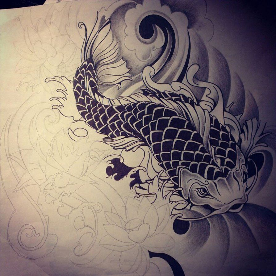Japanese drawings of koi fish japanese koi fish tattoo for Black dragon koi