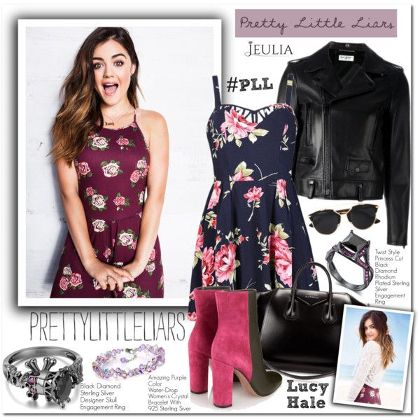 TV Style: Pretty Little Liars by sweetsely on Polyvore featuring Ally Fashion, Yves Saint Laurent, Mary Katrantzou, Givenchy, Christian Dior, Wall Pops!, Hollister Co., pll, LucyHale and blockheelankleboots