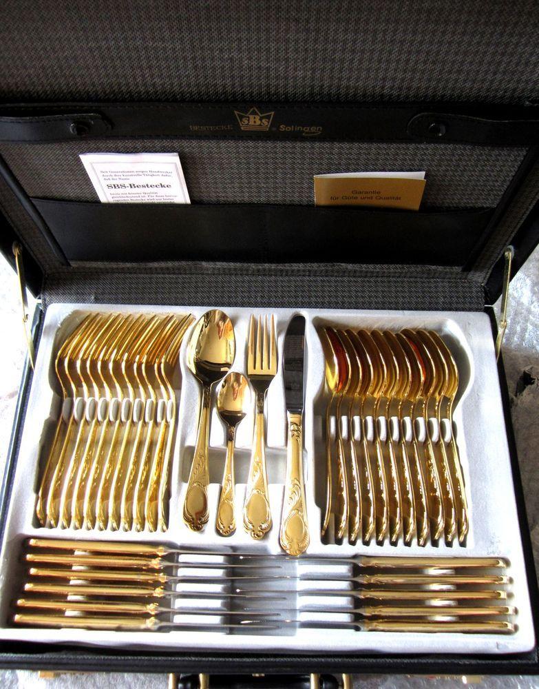 NEU 70-tlg. Besteck Modell WIEN incl. Koffer SBS Solingen 24 Karat Goldauflage