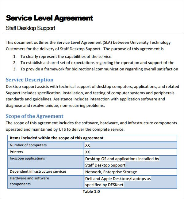 What is a service level agreement? Pin On Template