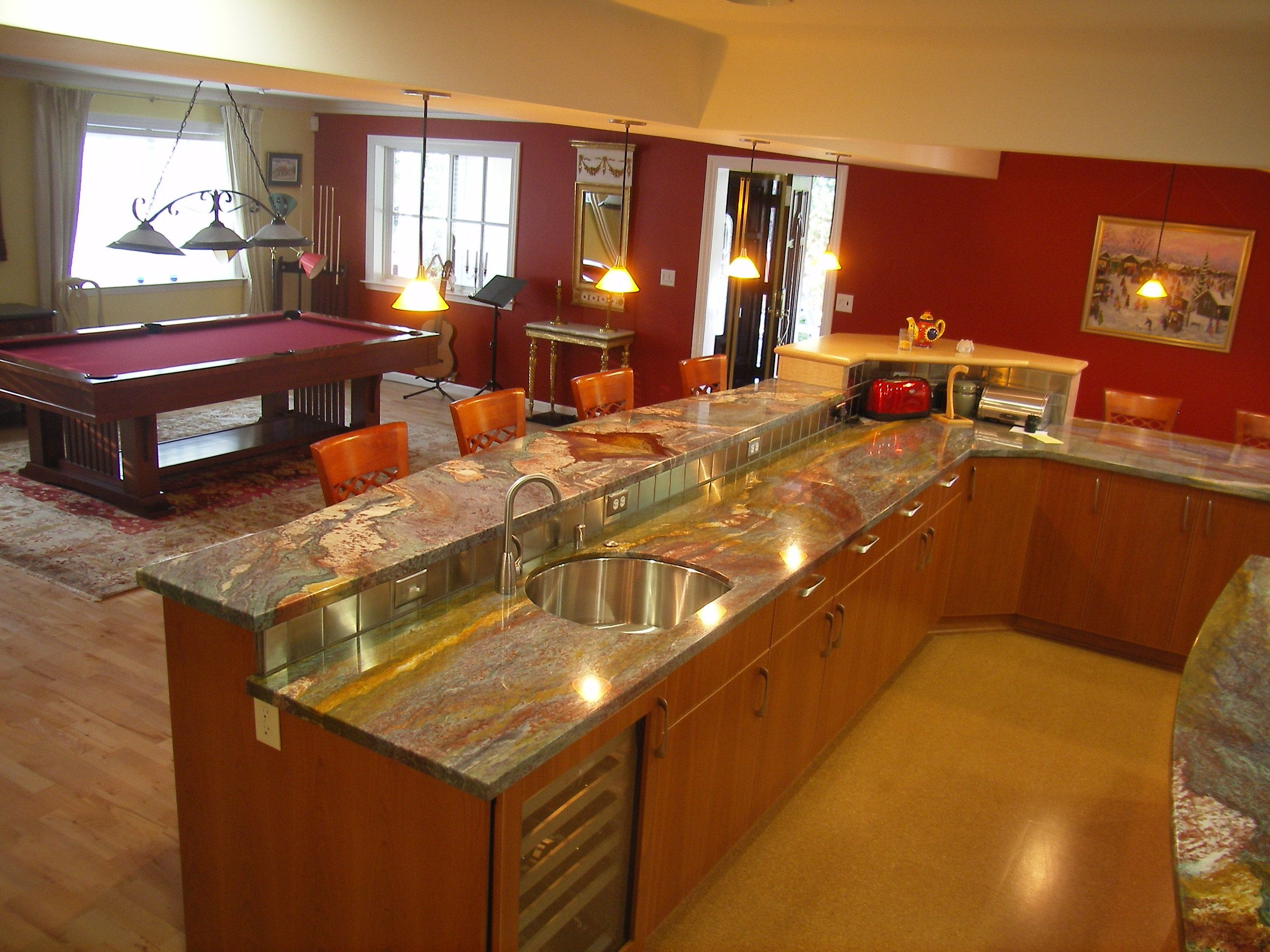 Traditional L Shaped Kitchen Design Ideas Bar With Island Granite Top Also Seat