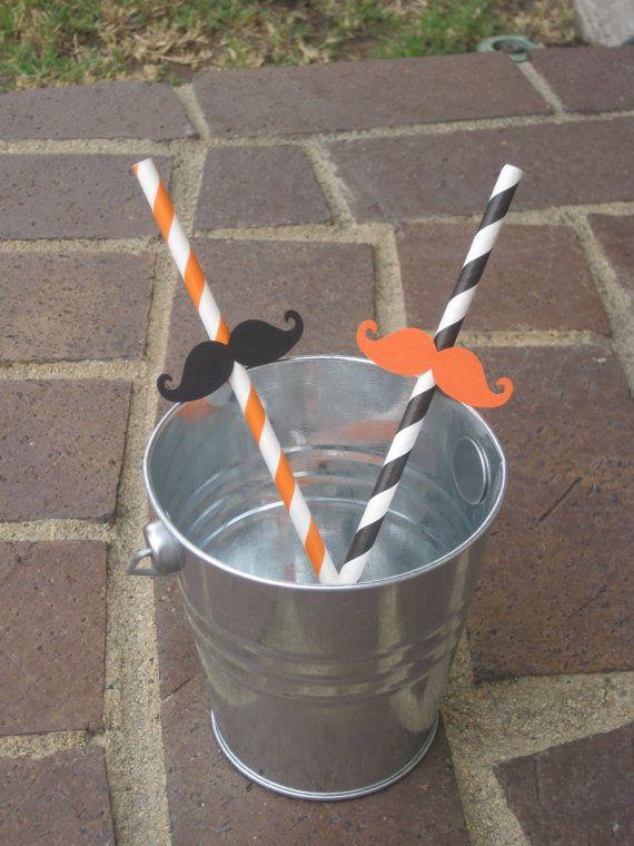 Halloween Mustache Straws  Black and Orange  by MalibuandFlipFlops, $9.00