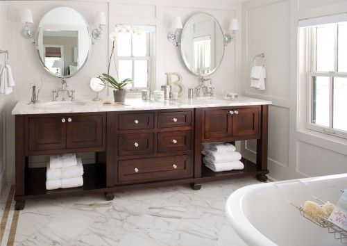 The Granite Gurus Faq Friday White Marble Countertop In A Bath With Dark Brown Traditional Bathroom Vanity Traditional Bathroom Traditional Bathroom Designs