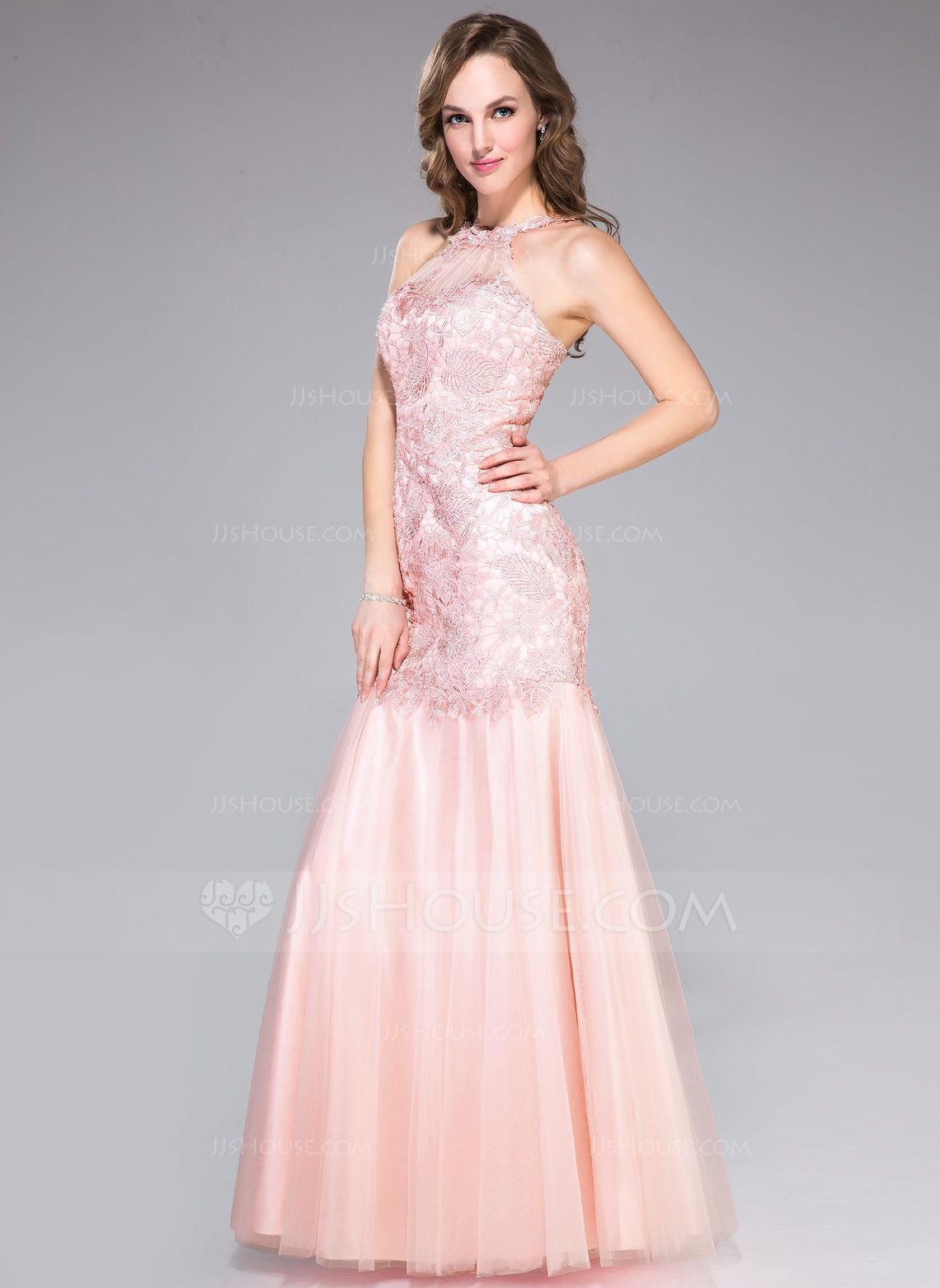 Trumpetmermaid scoop neck floorlength tulle lace prom dress with