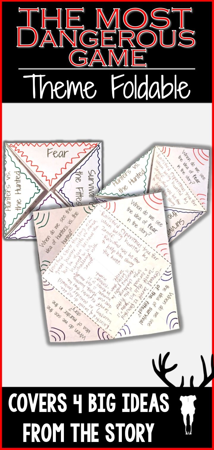 worksheet The Most Dangerous Game Comprehension Worksheet the most dangerous game theme foldable richard connell analyze four big ideas from by in this