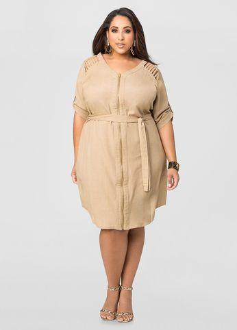 Linen Caged Shoulder Dress