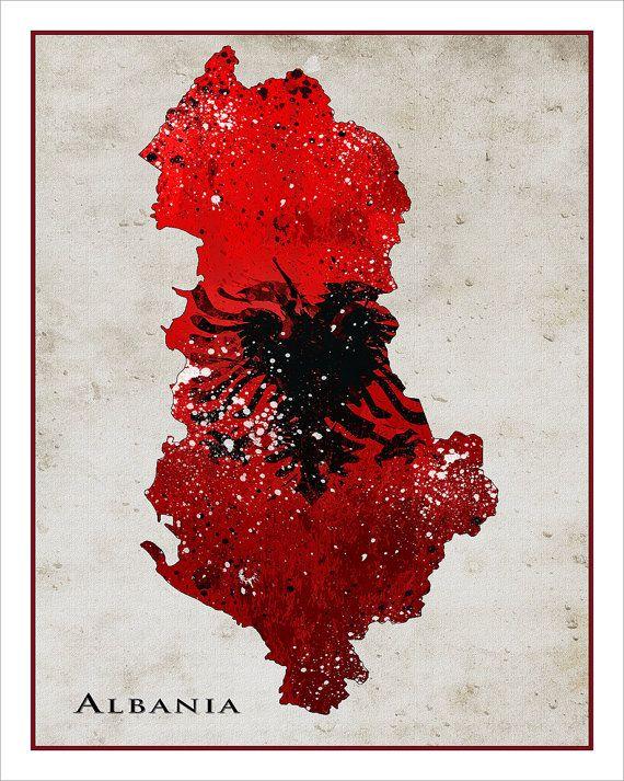 Albania Flag Map Map Of Albania Painted Maps Splatter Art