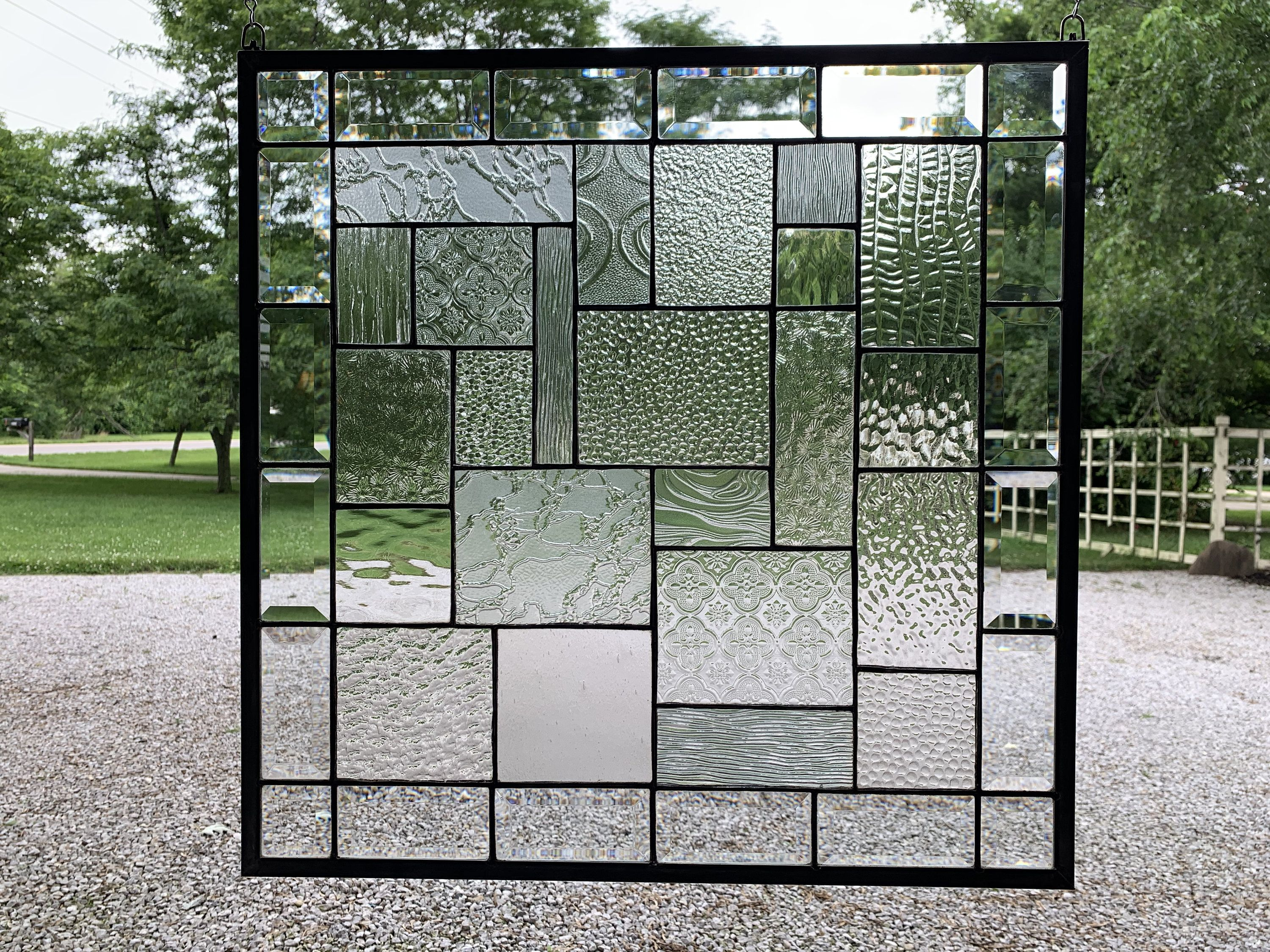 Stained Glass Panel Clear Textured Glass Geometric Window Hanging Beveled Glass Squares Custom Tiffany W Stained Glass Glass Texture Stained Glass Panel