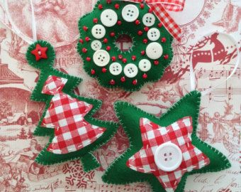 Christmas poinsettia ornaments set of 3 handmade di CraftsbyBeba