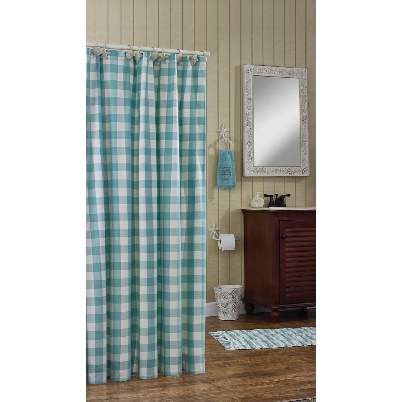 Shower Curtains 20441: (1) Wicklow Soft Sea Blue Check Cotton Country Bath  Shower
