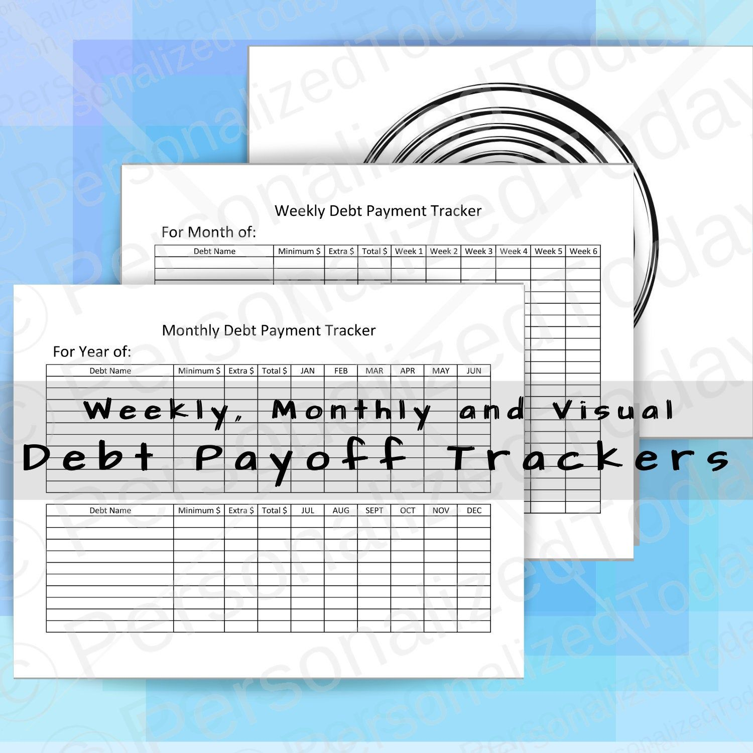 Printable Weekly Amp Monthly Debt Payoff Trackers Instant