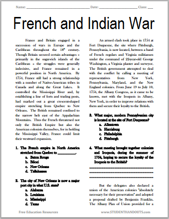 The French and Indian War Free Printable American
