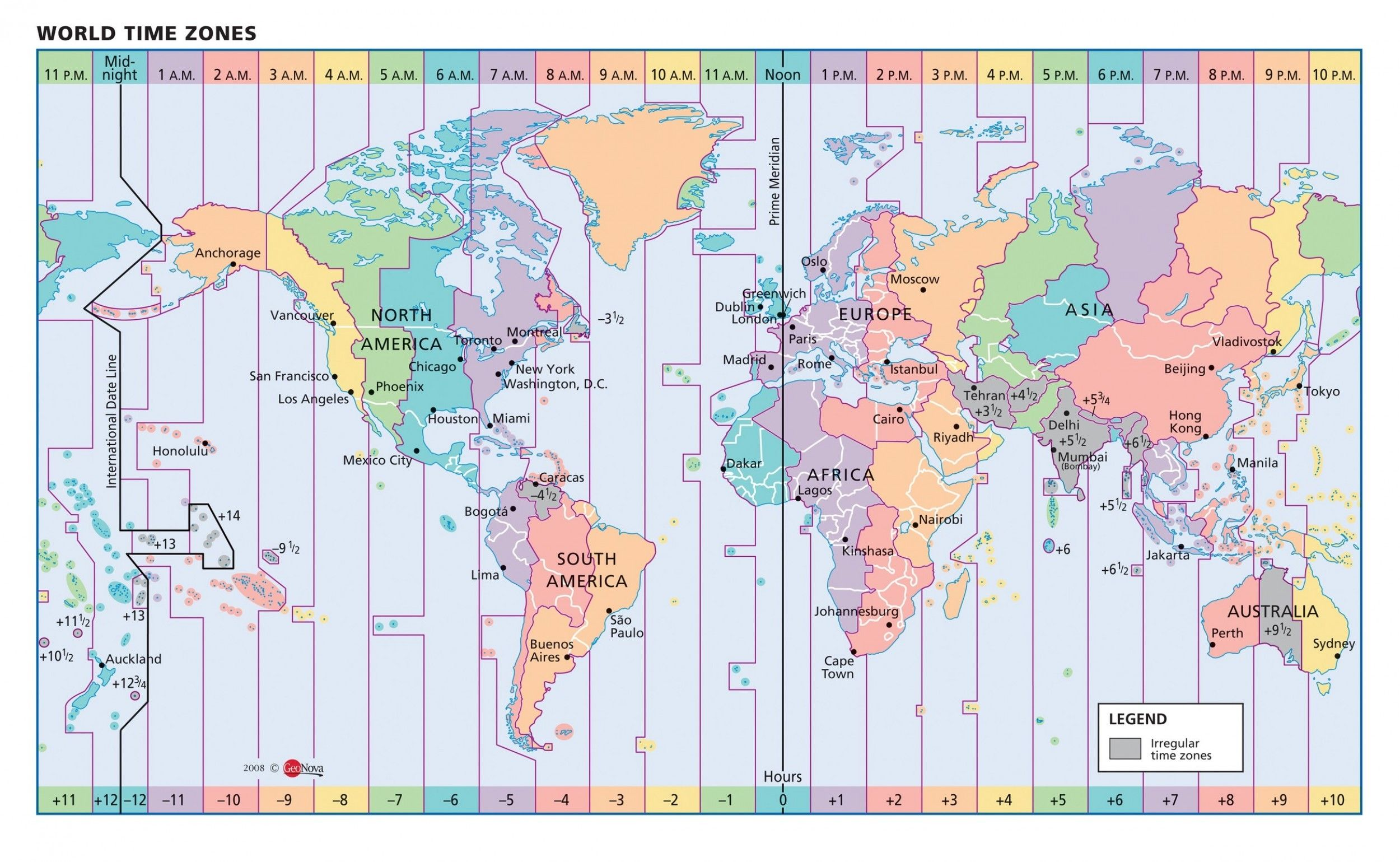 Timezone Map Of Us Color Map Of Us Time Zones Vector Map