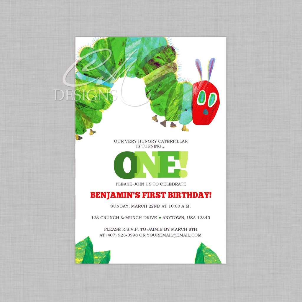 The Very Hungry Caterpillar Birthday Invitation | Case is 1 ...
