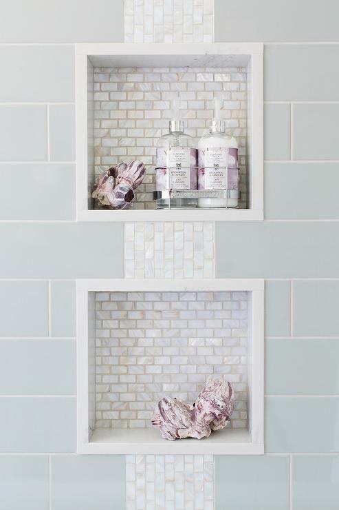 Blue Subway Shower Tiles Frame Two White Glass Mini Brick Tiled
