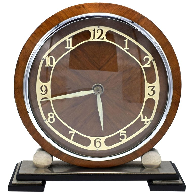 1930s Art Deco English Eight Day Wood Chrome And Bakelite Clock Art Deco Clock Art Deco Interior Vintage Clock