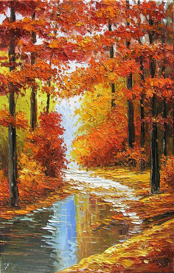 Original Oil Painting Canadian Autumn 23 X 36 Palette By