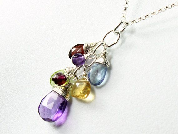 Colored Pearl Necklace Garnet Necklace Cluster Pendant Pearls and Gemstones Pendant Peridot Necklace Topaz Necklace June Jewelry