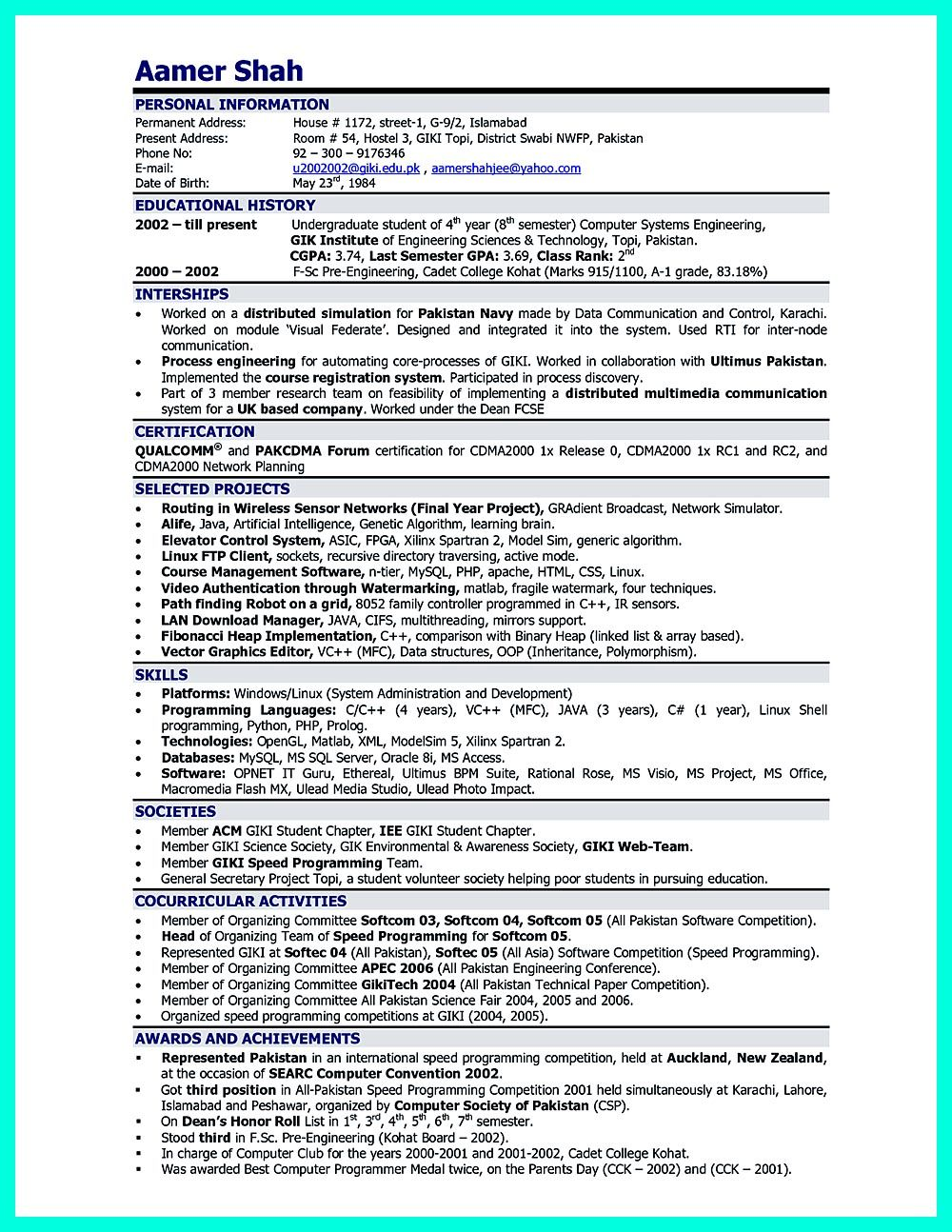 Computer engineering resume includes the skill in the IT field you ...