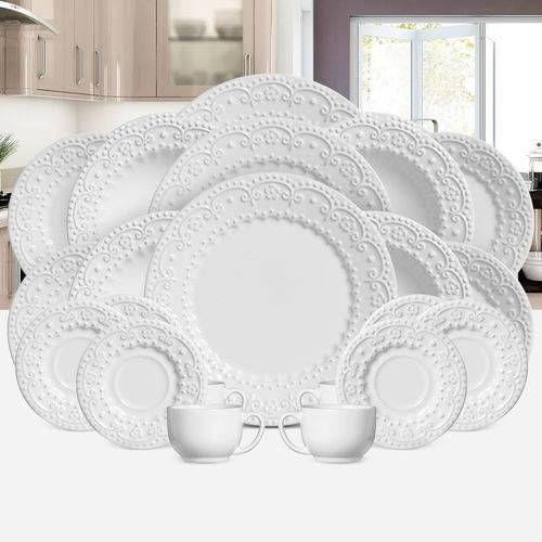 Aparelho De Jantar Esparta Branco Porto Brasil Em Ceramica 30 Pecas