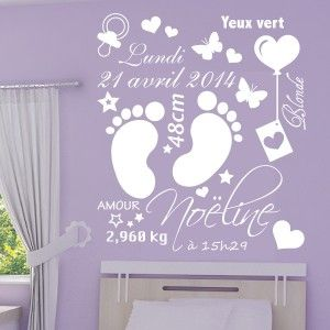 sticker cadre naissance pieds b b date poids. Black Bedroom Furniture Sets. Home Design Ideas