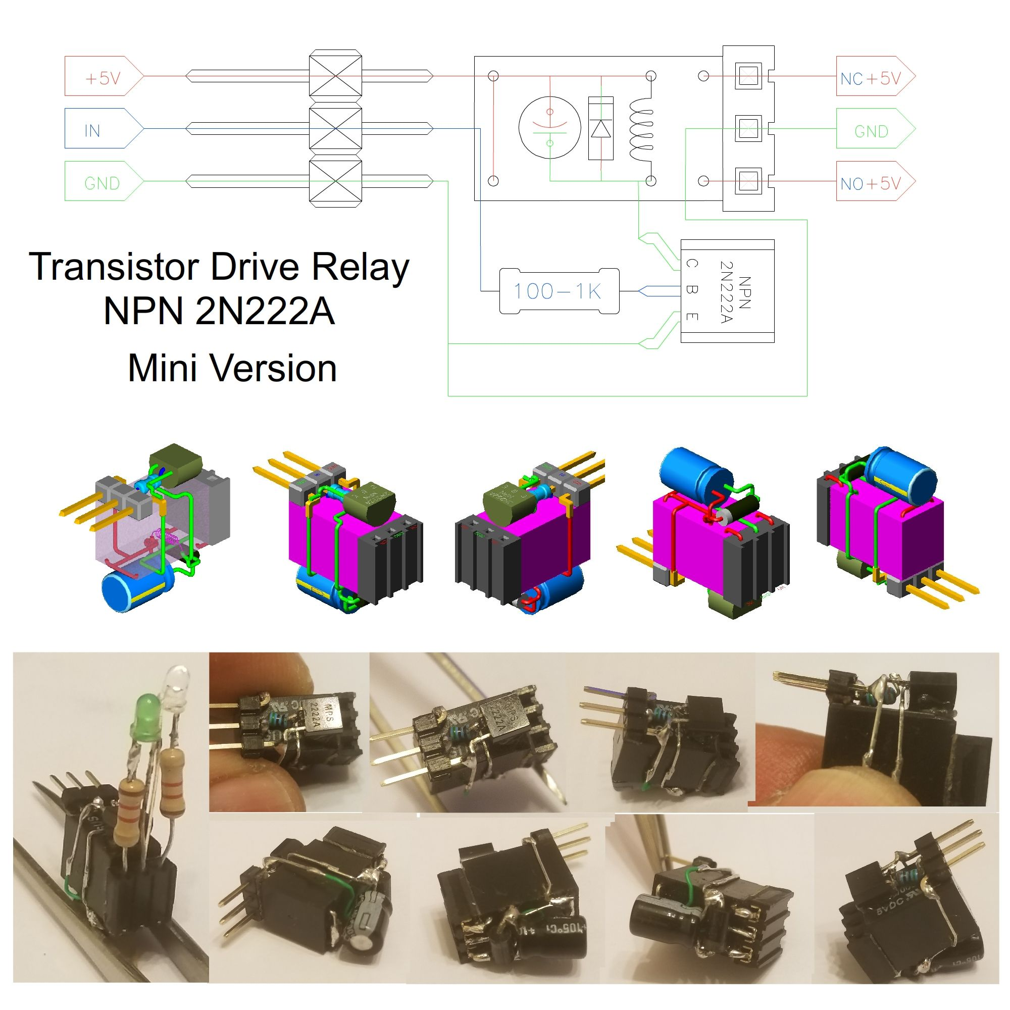 Transistor Drive Relay Npn 2n222a Mini Version 1 Diy Electronic Lightdark Switch With Schematic Diagram Wiring