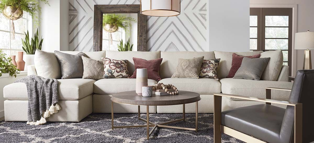 Double Chaise Sectional And Modern Gold Armed Chair Pieces I Am Interested In At Bassett Furniture Bassett Furniture Living Room Bassett Furniture Furniture