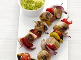 Sausage and pepper skewers.  Wegmans carries some fantastic chicken/garlic and pork/apple sausages that are mighty fine with this recipe.